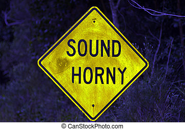sound horny - road sign with modified word
