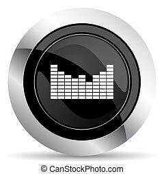 sound icon, black chrome button