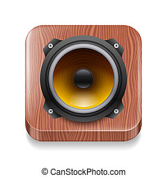 Sound icon - Wood framed sound speaker icon on white ...