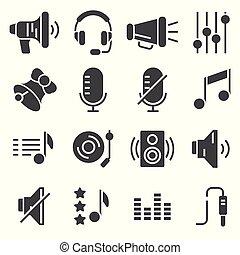 Sound icons set vector