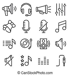 Sound icons set vector.