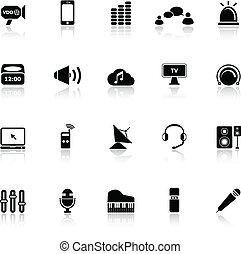 Sound icons with reflect on white background