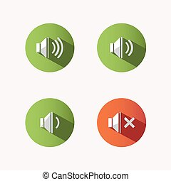 Sound icons with shade on colored circles and white background