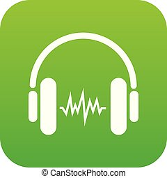 Sound in headphones icon green vector