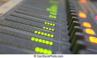 Sound level meter equaliser in a studio.