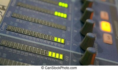 Sound level meter equalizer in a studio.