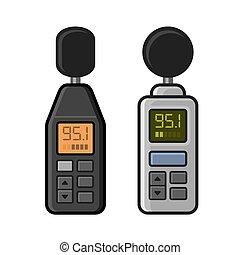 Sound Level Meter Set on White Background. Vector...