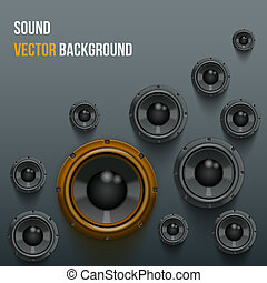Sound Load Speakers on dark background. - Background of...