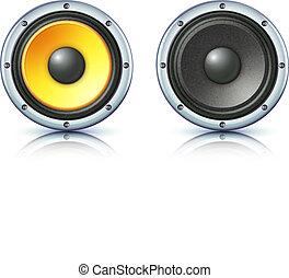 sound loud speakers - Vector illustration of detailed sound...