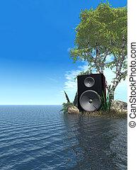 sound - loudspeaker at the ocean - 3d illustration