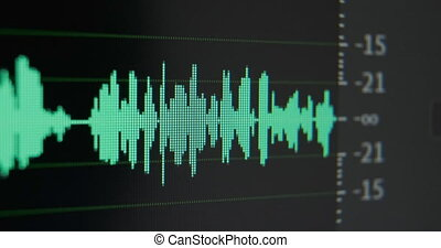 Sound manager increases sound volume intensity on track of new project in computer program in studio macro view