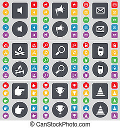 Sound, Megaphone, Message, Campfire, Magnifying glass, Mobile phone, Hand, Cup, Cone icon symbol. A large set of flat, colored buttons for your design.