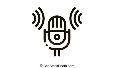 Sound Microphone Voice Control animated black icon on white background
