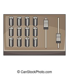 Sound mixer pult icon, cartoon style