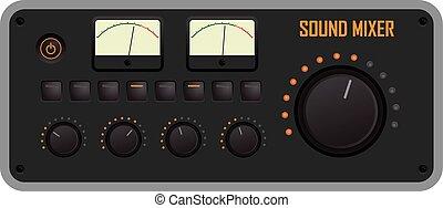 Sound mixer - Vector illustration of a sound mixer control ...