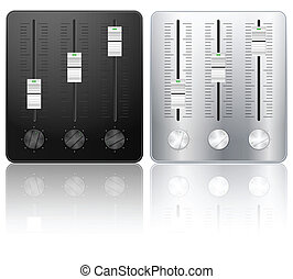 DJ sound mixing icons on white background. Vector illustration.