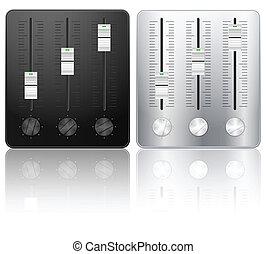 Sound mixing icon - DJ sound mixing icons on white...
