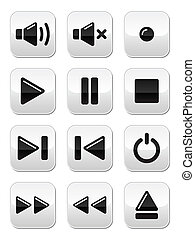 Sound / music buttons set - Glossy audio / media buttons ...
