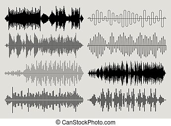 Sound music waves vector set. Musical pulse or audio charts