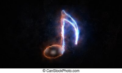Sound note icon. The note is on fire 29. - Sound note icon....