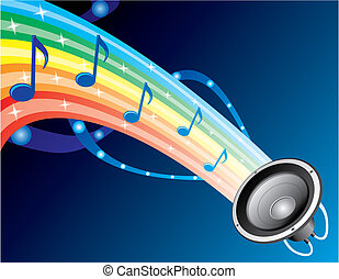 Colourful composition with music notes at rainbow