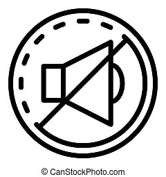 Sound off sign in a circle icon, outline style