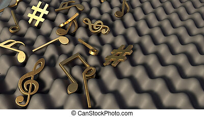 A concept showing a closeup of a section of grey sound foam with gold music symbols and notes laying scattered ontop of it