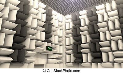 """""""Computer generated, Sound proof room, anechoic chamber."""""""