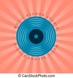 Sound record studio, vinyl music shop, club vector logo with vinyl record