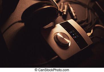 Sound Recording Equipment - Audio interface and headphones...