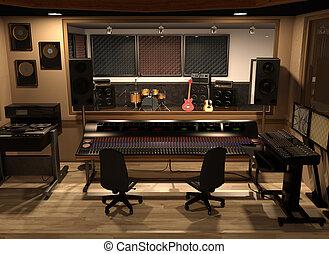 Sound Recording Studio - 3D render depicting a sound...
