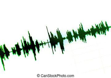 Sound recording studio audio wave on computer screen in...