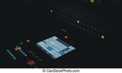 Sound recording studio. - Sound recording equipment in the...