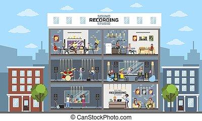 Sound recording studio city building with people.