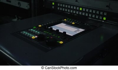 Sound recording studio. - Sound recording equipment in the...