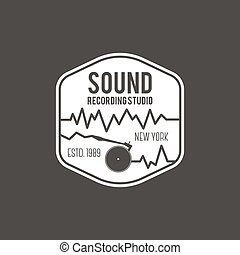 Sound, recording studio vector label, badge, emblem logo with musical instrument. Stock vector illustration isolated on dark background