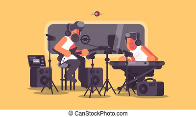 Sound recording studio with audio equipment. Music group...
