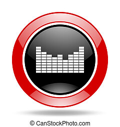 sound red and black web glossy round icon