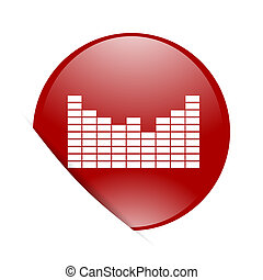 sound red circle glossy web icon