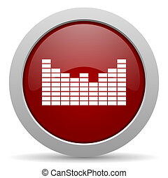 sound red glossy web icon