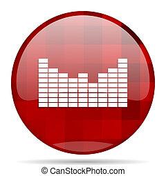 sound red round circle glossy modern design web icon