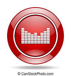 sound red web glossy round icon