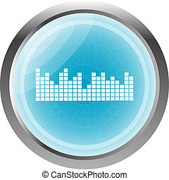 sound round web glossy icon isolated on white