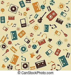 sound., seamless., vetorial, música, retro, fundo