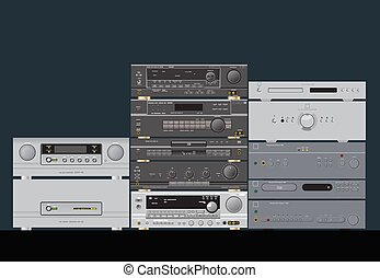 Sound shop. HiFi stereo audio components. Amplifier, receiver, CD-player, sound processor.