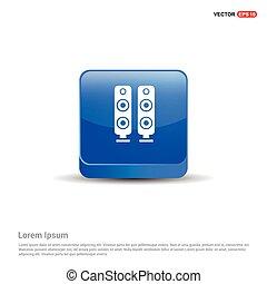 Sound speaker icon  - 3d Blue Button