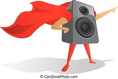Sound speaker super hero proudly pointing