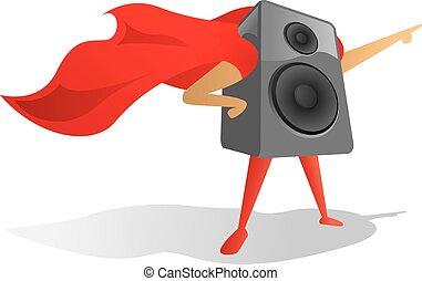 Sound speaker super hero proudly pointing
