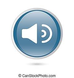 Sound, Speaker Volume icon. blue glossy web icon