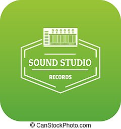 Sound studio icon green vector